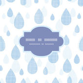 Abstract textile blue rain drops seamless frame pattern background — Stock Vector