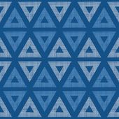 Abstract textile blue triangles ikat seamless pattern background — Stock Vector
