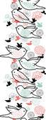 小鸟剪影垂直无缝图案背景边框 — 图库矢量图片