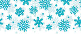 Blue Frost Snowflakes Horizontal Seamless Pattern Background — Stok Vektör