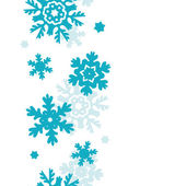 Blue Frost Snowflakes Vertical Seamless Pattern Background — Stock Vector