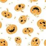Smiling Halloween pumpkins seamless pattern background — ストックベクタ