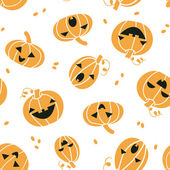 Smiling Halloween pumpkins seamless pattern background — Stock Vector