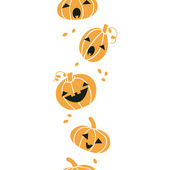 Smiling Halloween pumpkins vertical seamless pattern background — Stock Vector