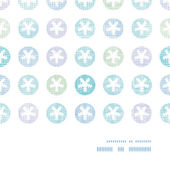 Abstract Textile Snowflakes Dots Horizontal Frame Seamless Pattern Background — Stockvektor