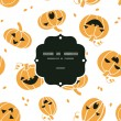 Smiling Halloween pumpkins frame seamless pattern background — Vector de stock  #50093993