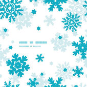Blue Frost Snowflakes Frame Seamless Pattern Background — Stock Vector
