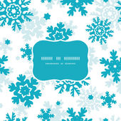 Blue Frost Snowflakes Blue Frame Seamless Pattern Background — Stockvektor