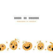 Smiling Halloween pumpkins horizontal border seamless pattern background — Stock Vector