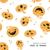 Smiling Halloween pumpkins frame corner pattern background — Stock Vector