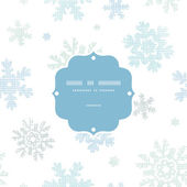 Blue Christmas Snowflakes Textile Texture Frame Seamless Pattern Background — Stock Vector