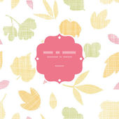 Abstract textile texture fall leaves frame seamless pattern background — Stock Vector