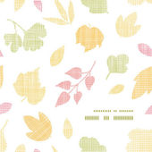 Abstract textile texture fall leaves frame corner pattern background — Stock Vector