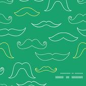 Line art mustaches frame corner pattern background — Stock Vector