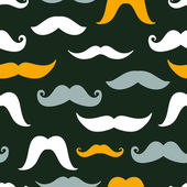 Fun silhouette mustaches seamless pattern background — Stock Vector