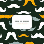 Fun silhouette mustaches frame seamless pattern background — Vettoriale Stock