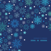 Night snowflakes frame corner pattern background — Stock Vector