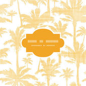 Vector palm trees golden textile frame seamless pattern background — Stock Vector