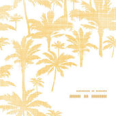 Vector palm trees golden textile frame corner pattern background — Stock Vector