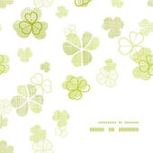 Clover textile textured line art frame corner pattern background — 图库矢量图片