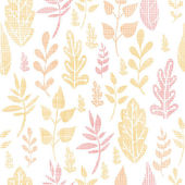 Textile textured fall leaves seamless pattern background — Stock Vector