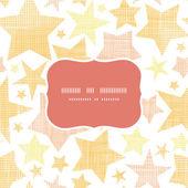Golden stars textile textured frame seamless pattern background — Vettoriale Stock