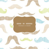 Fun silhouette mustaches frame seamless pattern background — Stock Vector