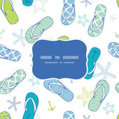 Nautical flip flops blue and green frame seamless pattern background — Vector de stock