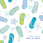 Nautical flip flops blue and green frame corner pattern background — Stockvektor