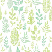 Textile textured spring leaves seamless pattern background — Stock Vector