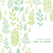 Textile textured spring leaves frame corner pattern background — Stock Vector