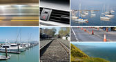 Composite of transportation and mobility images — Stock Photo