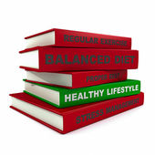 Pile of books - healthy lifestyle — Stock Photo