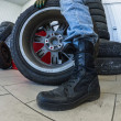 Wheel at tire service — Stock Photo