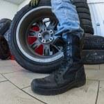 Wheel at tire service — Stock Photo