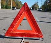 Warning sign on the road — Stock Photo