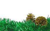 Spar-boom garland en goud kegels — Stockfoto