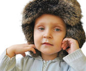 The pretty little boy in a winter cap — Stok fotoğraf