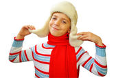 Christmas portrait of the boy in a winter cap — Foto Stock