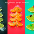 Christmas collage: fir-trees from a citrus — Stock Photo