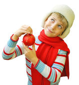 Christmas portrait of the boy in a winter cap — Stock Photo