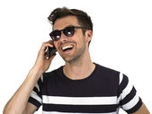 Man Laughing on the Phone — Stock Photo