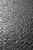 Grey cobbled street in a V shape — Stock Photo