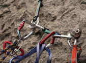 Rock climbing anchors — Stock Photo