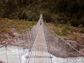 Suspension bridge across the river on the trail to Mt. Everest, Nepal — Stock Photo