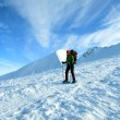 Hiker in winter mountains snowshoeing — Foto Stock