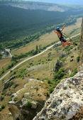 банджи прыжки последовательности в баньос-де-агуа санта, эквадор, сан-франциско мост — Стоковое фото
