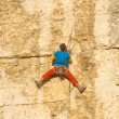 Young man climbing vertical wall with valley view on the background — Stock fotografie