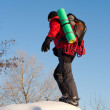 Stock Photo: hiker in winter mountains snowshoeing