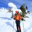 Winter hiking in snowshoes. — Stock Photo
